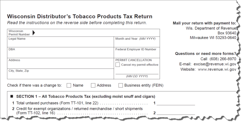 Cut out image of Wisconsin Tobacco Products tax return